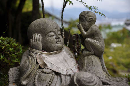 kamakura: Stone statue in Hasedera  Kamakura  Japan