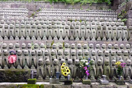 kamakura: Fukuju Jizo stone statues Hasedera  Kamakura, Japan