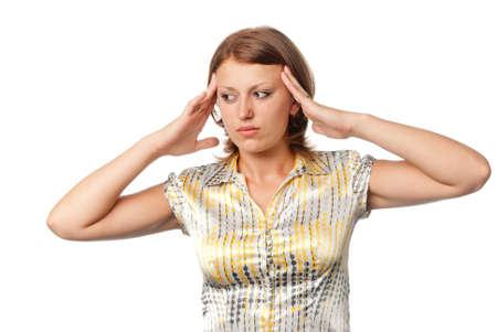 cephalgia: Girl with headache