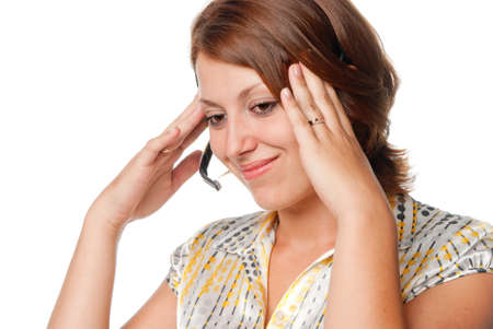 cephalgia: Thoughtful girl with a microphone Stock Photo