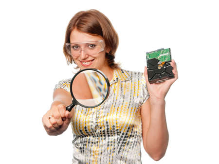 eyeshield: Smiling girl with  hard driver and  magnifier Stock Photo