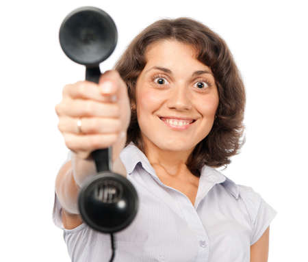 Pretty girl with old-style telephone photo