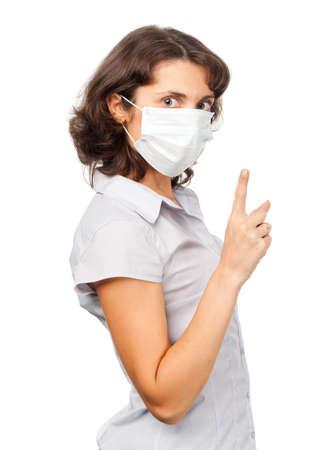 medical mask: Chica estricta en una m�scara de m�dica