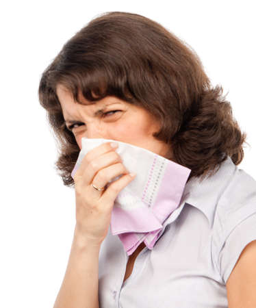 hanky: A cold girl sneezes