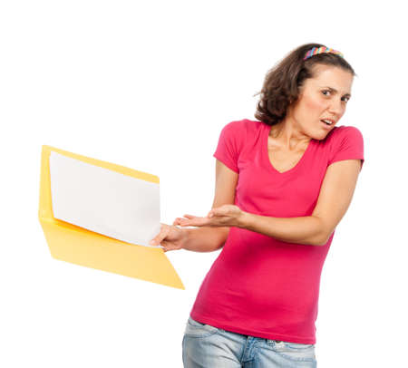 criticizes: Girl criticizes documents in her hands Stock Photo