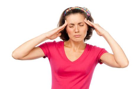 cephalgia: Tired pretty girl with a headache