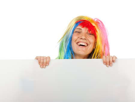Funny clown with blank board Stock Photo - 7531236