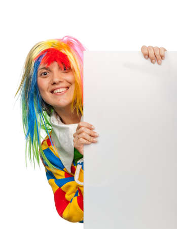 Funny clown with blank board photo