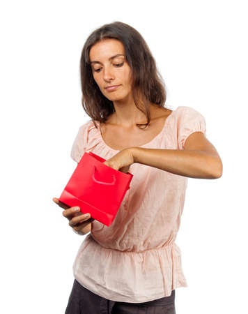 �retty girl with red gift box photo