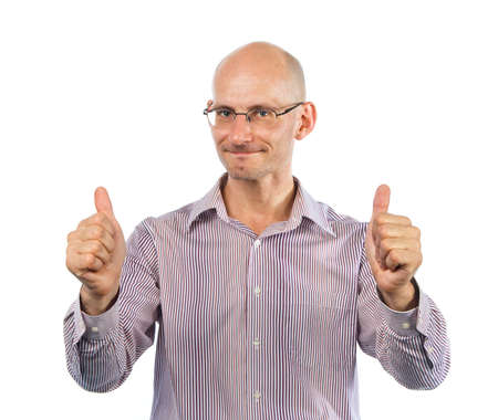 Bespectacled man shows thumbs up Stock Photo - 7531407