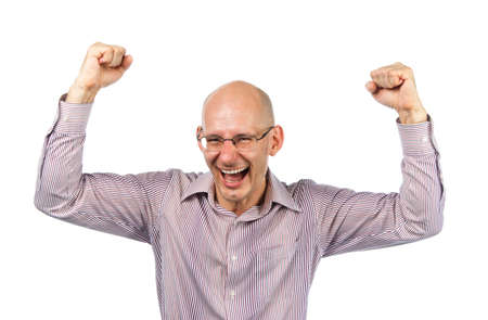 bespectacled man: Bespectacled man rejoices victory Stock Photo