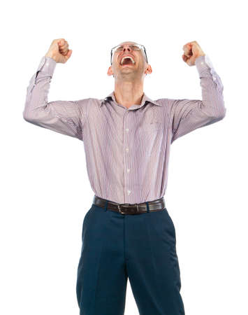 rejoices: Bespectacled man rejoices victory Stock Photo