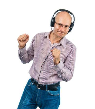 Dancing man whith headphones photo