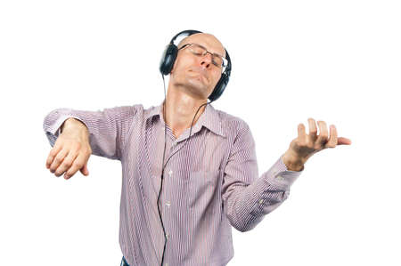 bespectacled man: Man in headphones shows violin Stock Photo