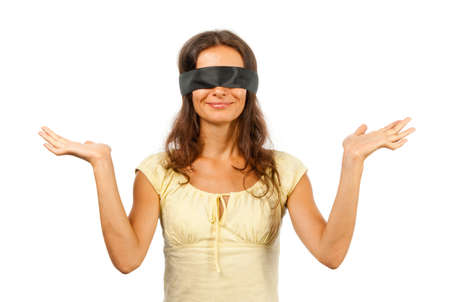 blindfolded: Blindfolded man throws up his hands Stock Photo