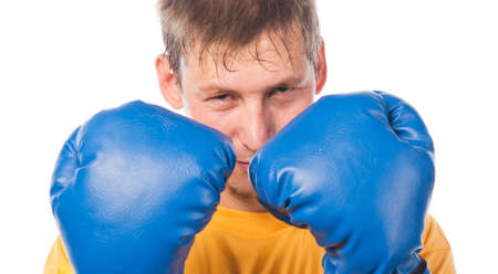 pugilist: Young man in boxing gloves
