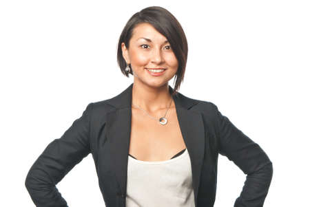 surety: Smiling youngbusiness woman Stock Photo