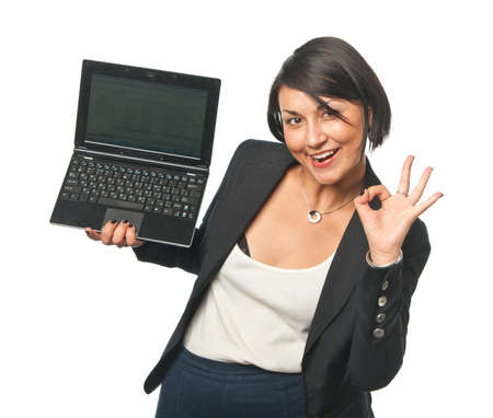 Young businesswoman with a laptop photo