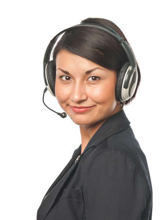 Young businesswoman in headset photo