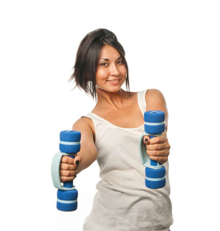 phisical: Sports girl doing exercises with dumbbells