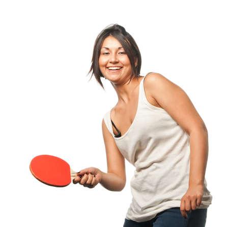 tischtennis: Sport-M�dchen spielt Tischtennis  Lizenzfreie Bilder