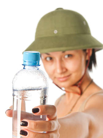 pith: Girl in a pith helmet with a bottle of water