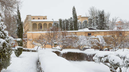 Infantado Palace with snow in the city of Guadalajara in Spain after storm Filomena
