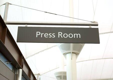 A sign for the press room Banco de Imagens