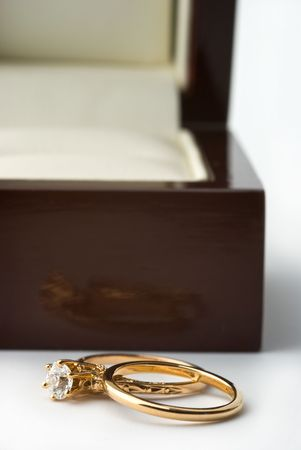 Wedding rings and the box on a white background Stock Photo