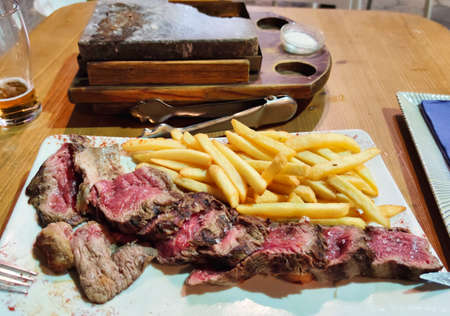 Angus steak on stone in Valencia Foto de archivo