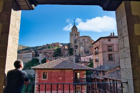 Enjoying the beautiful views of the Cathedral of El Salvador from the viewpoint of the main square of Albarracin, Teruel