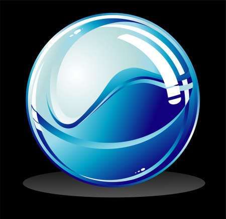 VECTOR Glossy isolated sphere on black Vector