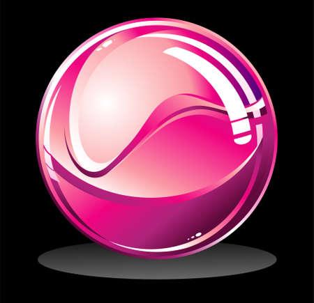 欲望: 黒の光沢のある孤立した球にベクトル