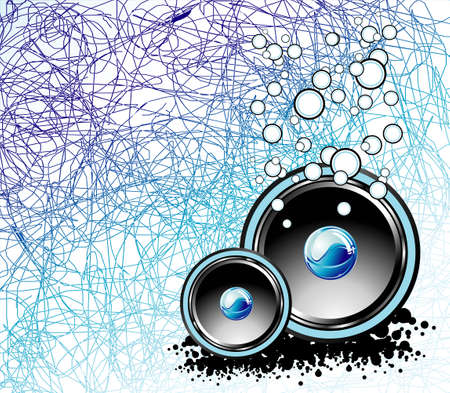 decibel: Abstract underwater background with speakers and bubbles Illustration