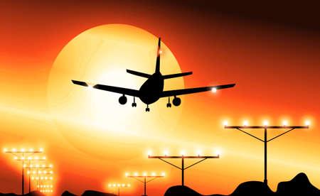 landing: Airplane Landing in the sky