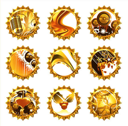 siluetas: Little collections of bottle caps with various colorful designs Stock Photo