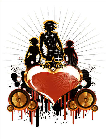 Girls and Love music event frame background Stock Photo - 4774450