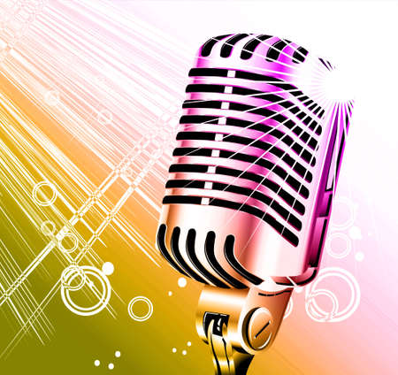 vintage retro singer microphone with abstract background     photo