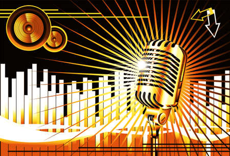 Abstract Music Background With Old microphone photo