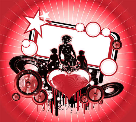 Girls and Love music event frame background Stock Photo - 4882905