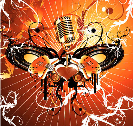Sound and music theme background with a lot of design elements Stock Photo - 4882861