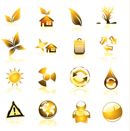 Collection of ecology and environmental icons photo