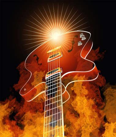 Retro guitar burning in true flames