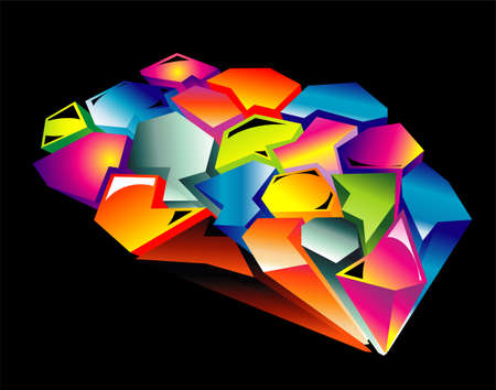 person shined: 3D style abstract graffici design
