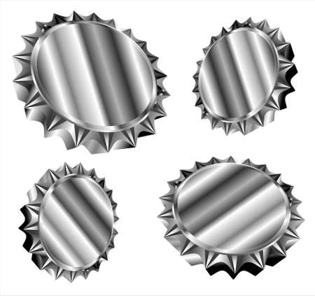 3D bottle caps gear style   Vector