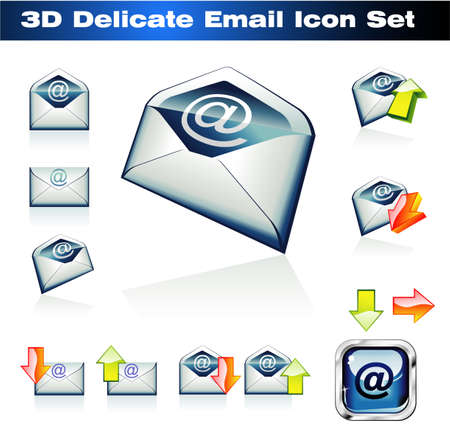Colorful 3D Emails Icon Set Stock Vector - 4896383