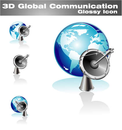 Blue World global communicatins 3D Icon Vector