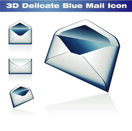 Delicate Blue 3D Classic Post Icon Vector
