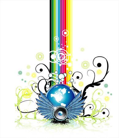 Fantasy flying Speaker with globe and rainbow background   Illustration
