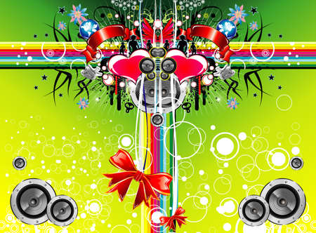 siluetas: Christmas and music emotions gift box background card Illustration